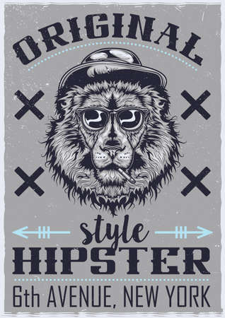 T-shirt or poster design with illustration of smoking lion in a hat and glasses Çizim