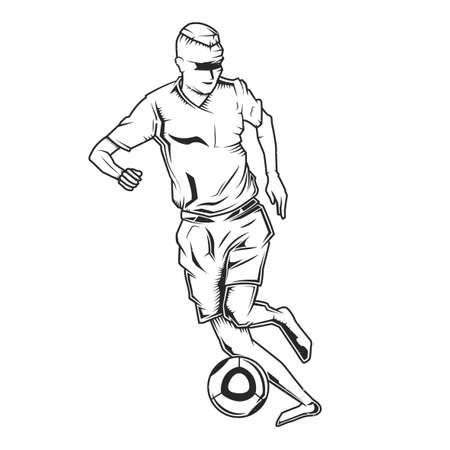 Emblem design with illustration of football player