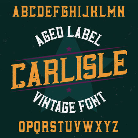 Vintage label typeface named Carlisle. Good font to use in any vintage labels or logo.