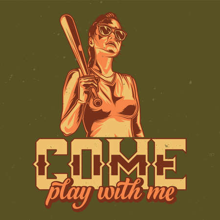 T-shirt or poster design with illustration of girl in sunglasses with basketball bat in hand