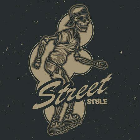T-shirt of posterontwerp met afbeelding van skelet op rolschaatsen Vector Illustratie