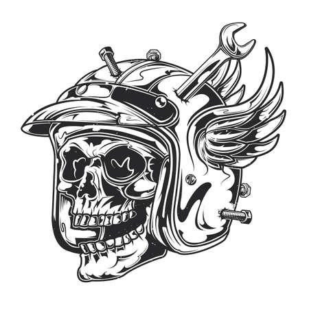 Emblem design with illustration of mechanic skull