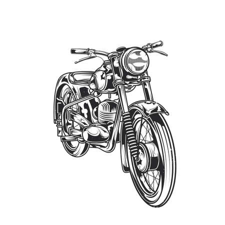 Emblem design with illustration of classic motorcycle
