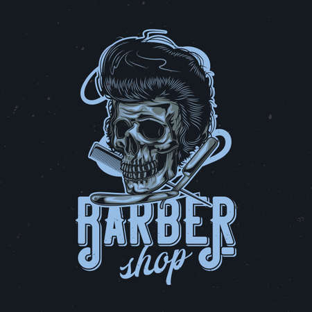 T-shirt or poster design with illustration of hairy skull, razor and comb