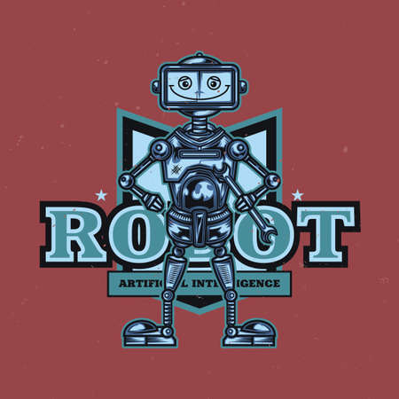 T-shirt or poster design with illustration of funny robot