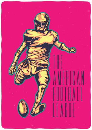 T-shirt or poster design with illustraion of american football player Stock Vector - 127302732