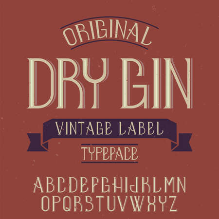 Vintage label font named Dry Gin. Good to use in any creative labels.  イラスト・ベクター素材