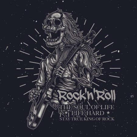 T-shirt o poster con illustrazione di uno scheletro che suona la chitarra Vettoriali