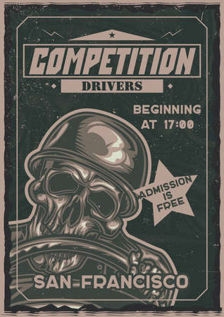 T-shirt or poster design with illustration of skeleton behind the steering wheel