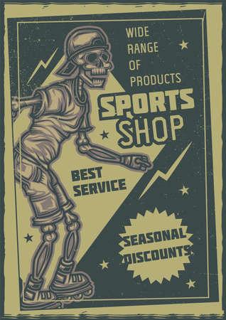 T-shirt or poster design with illustration of skeleton on roller skates Vector Illustratie