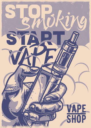 T-shirt or poster design with illustration of electronic vaporizer
