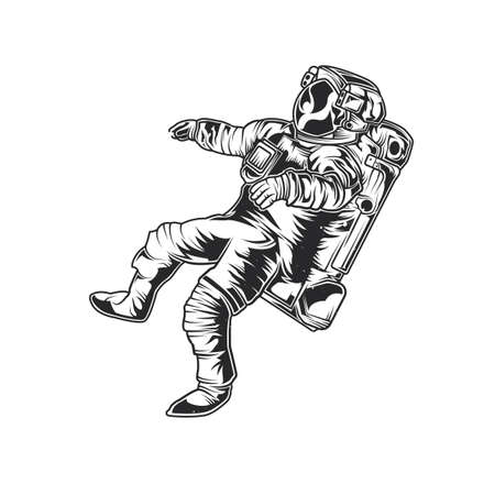 Emblem design with illustration of astronaut