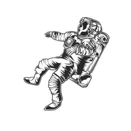 Emblem design with illustration of astronaut