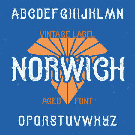 Vintage label typeface named Norwich. Good font to use in any vintage labels or logo. Stock Illustratie