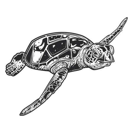 Diseño de emblema con ilustración de linda tortuga.