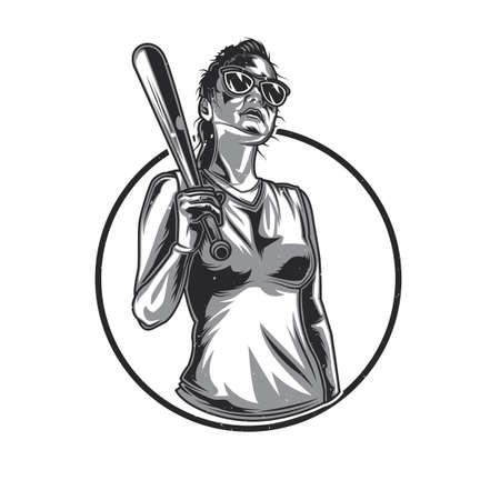 Emblem design with illustration of T-shirt or poster design with illustration of girl in sunglasses with basketball bat in hand Illustration