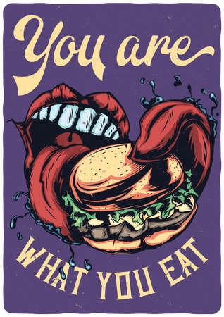 T-shirt or poster design with illustraion of big mouth eating big burger