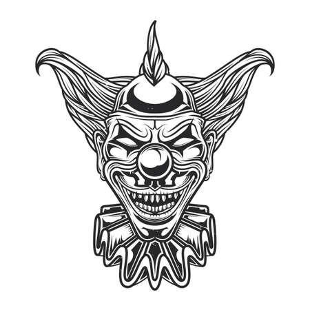 Emblem-Design mit Illustration des gruseligen Clowns