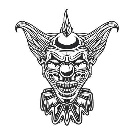 Emblem design with illustration of scary clown