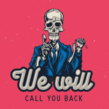 T-shirt or poster design with illustraion of dead call center operator 向量圖像