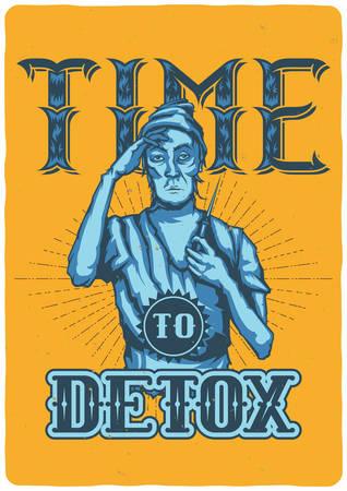 Diseño de camiseta o cartel con ilustración de adicto