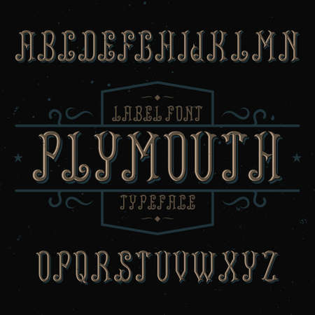 Vintage label font named Plymouth. Good to use in any creative labels. Stock Vector - 116027322