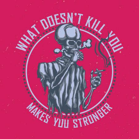 Diseño de camiseta o cartel con ilustración de esqueleto fumador