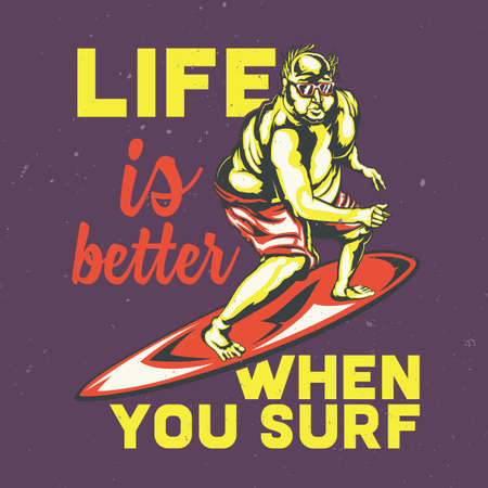 T-shirt or poster design with illustration of fat men on surfing board