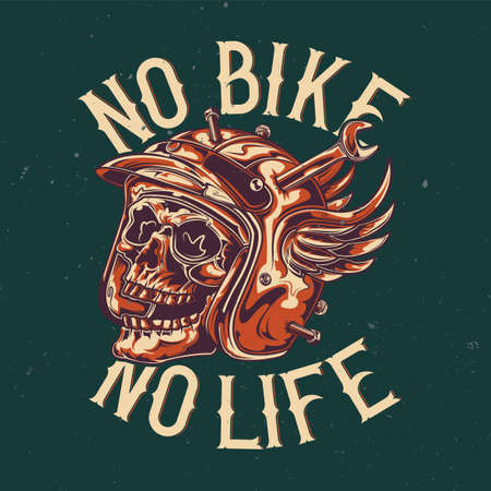 T-shirt or poster design with illustration of skull at damaged motorcycle helmet
