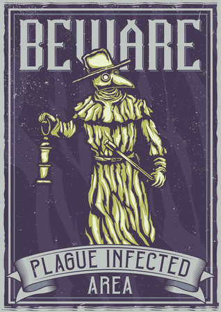 T-shirt or poster design with illustration of plague doctor  イラスト・ベクター素材