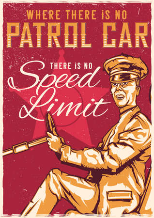 T-shirt or poster design with illustration of driver