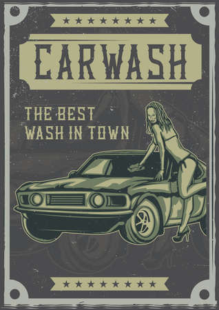 T-shirt or poster design with illustration of girl washes car