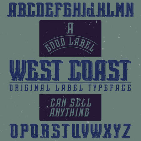 Vintage label font named West Coast. Good to use in any creative labels.