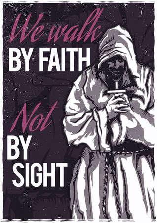 Diseño de camiseta o póster con ilustración de monje rezando