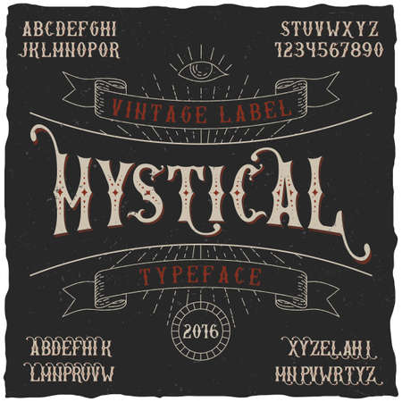 Mystical label typeface poster good to use in any vintage style labels vector illustration Illusztráció