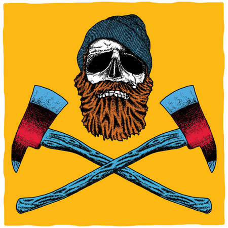 Lumberjack Effective Poster with skull in hat and beard vector illustration Ilustração