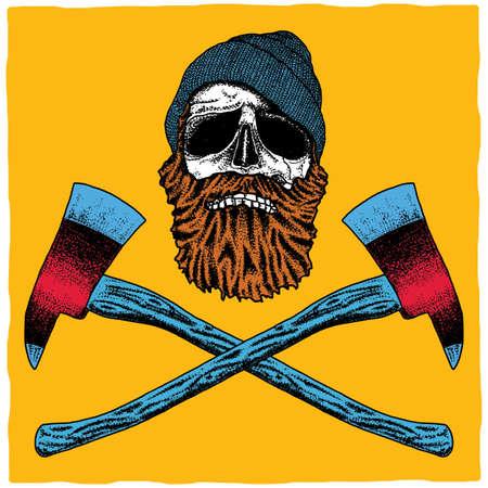 Lumberjack Effective Poster with skull in hat and beard vector illustration Illustration