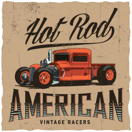 Hot rod american racers poster with orange car vector illustration Ilustrace