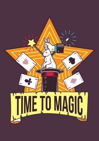 Poster design with illustration of magic tricks on background. Illustration