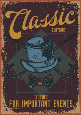Poster design with illustration of a hat and a cane on dusty background.