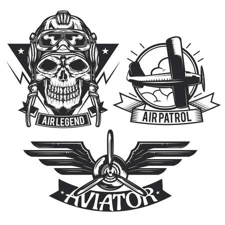 Set of aircraft elements emblems, labels, badges, logos. Isolated on white.