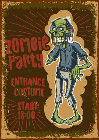 Poster design with illustration of a zombie on dusty background.