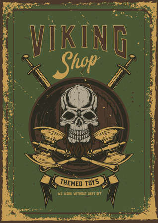 Poster design with illustration of a skull with axes on dusty background.