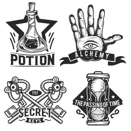 Set of alchemy emblems, labels, badges, logos. Isolated on white Illustration
