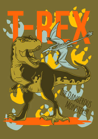 Poster design with illustration of dinosaur and its footprints on background.