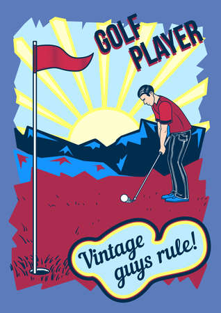 Poster design with illustration of golf player outdoors and the sunset on background. Illustration