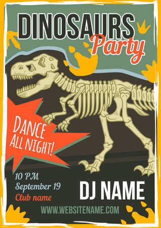 Advertising poster design with illustration of dinosaur on background.