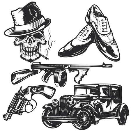 Ensemble d'éléments mafieux pour créer vos propres badges, logos, étiquettes, affiches, etc. Isolés sur blanc.
