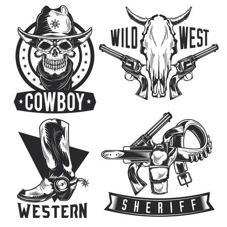 Set of cowboy emblems, labels, badges, logos. Isolated on white
