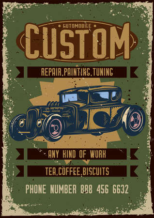 Poster design with illustration of advertising of custom car service on dusty background.